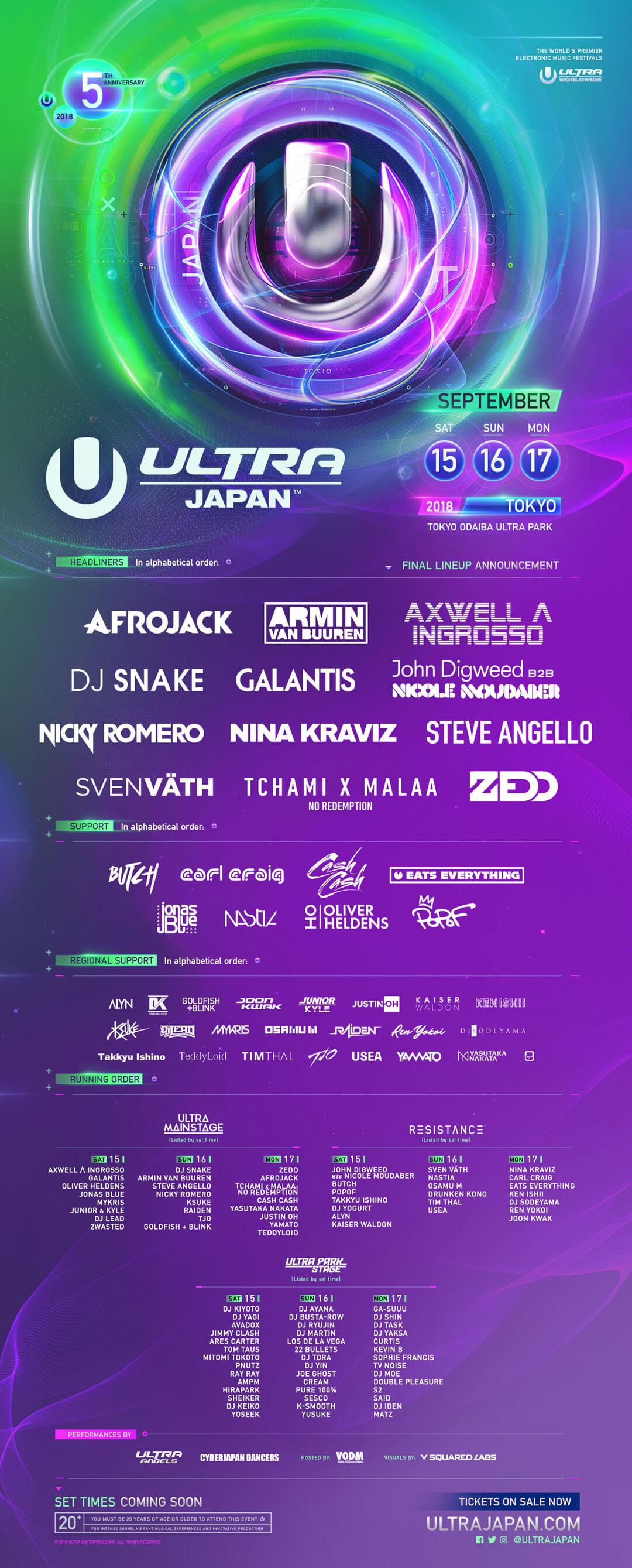 Ultra Japan 2018 Lineup